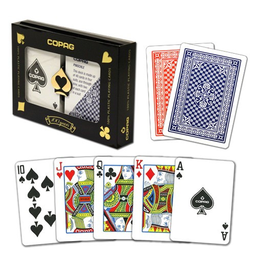 COPAG Pinochle Plastic Playing Cards, Red/Blue, Poker Size, Regular Index