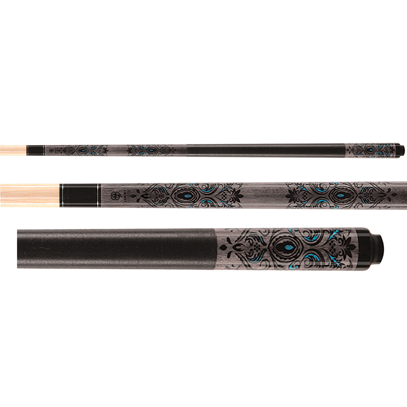Lucky Pool Cue, L51, Grey/Turquoise