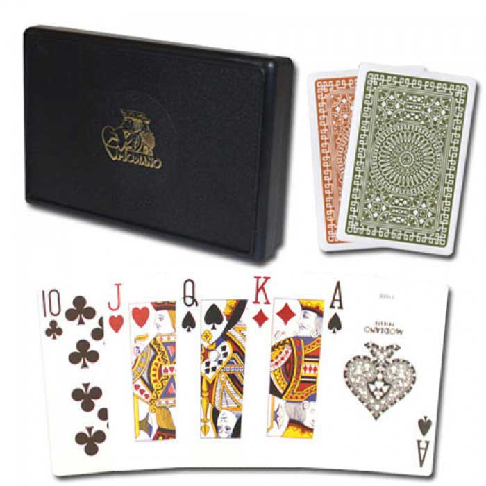Modiano Plastic Playing Cards, Green/Brown, Poker Size, Blackjack Index