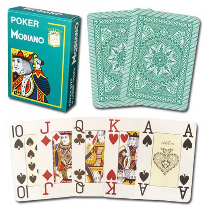 Modiano 100/% Plastic Playing Cards Club Green Brown Bridge Size Jumbo Index NEW