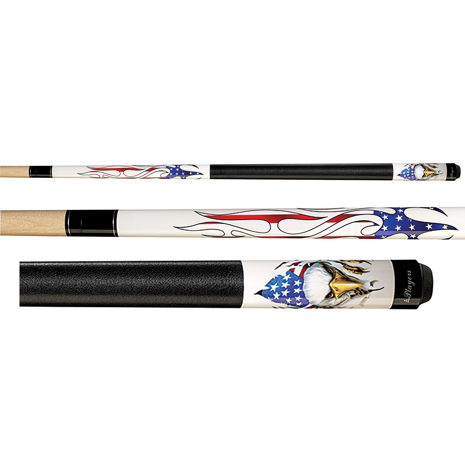 Players D-PEG Screaming Eagle Graphic White Pool Cue Stick
