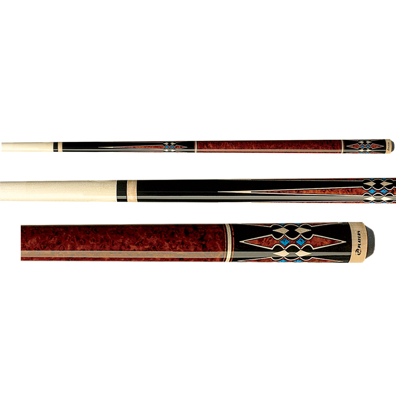 Players G-3395 Black and Walnut Brown Burl Pool Cue Stick