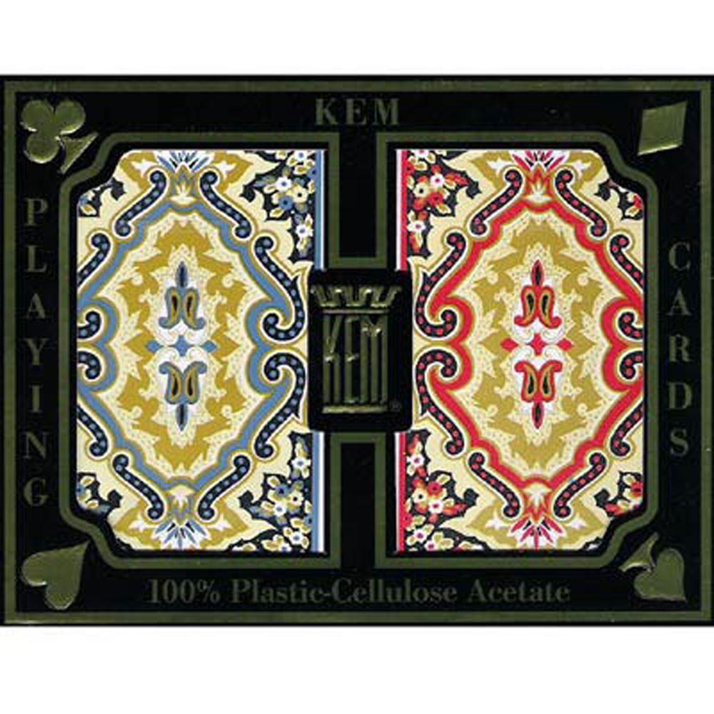 KEM Paisley Red/Blue Plastic Playing Cards, Bridge Size, Regular Index