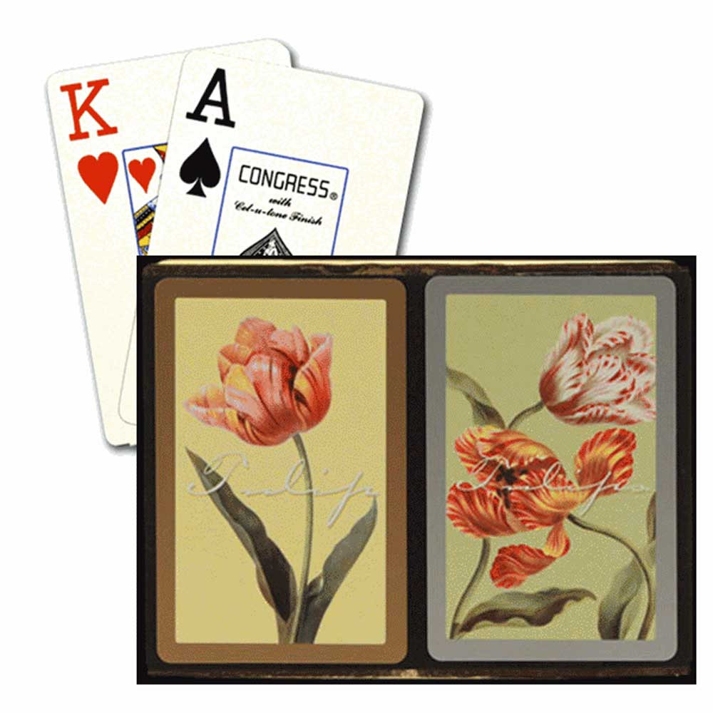 Congress Tulips Gold & Silver Bridge Designer Series Playing Cards