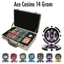 Ace Casino 14 Gram 300pc Poker Chip Set w/Claysmith Aluminum Case