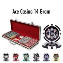 Ace Casino 14 Gram 500pc Poker Chip Set w/Black Aluminum Case