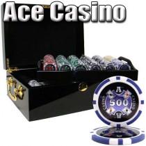 Ace Casino 14 Gram 500pc Poker Chip Set w/Mahogany Case