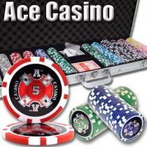 Ace Casino 14 Gram 600pc Poker Chip Set w/Aluminum Case