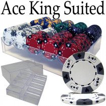 Ace King Suited 200pc Poker Chip Set w/Acrylic Tray