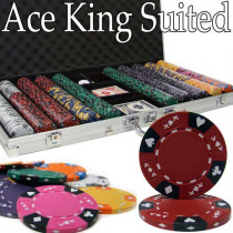 Ace King Suited 750pc Poker Chip Set w/Aluminum Case
