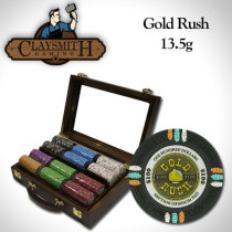 Gold Rush 300pc Poker Chip Set w/Walnut Case