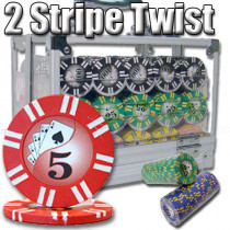 2 Stripe Twist 600pc 8 Gram Poker Chip Set w/Acrylic Case