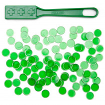 100 Green Magnetic Bingo Marker Chips w/Magnetic Wand