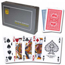 Modiano Old Trophy Plastic Playing Cards, Red/Blue, Poker Size, 4 PIP Index