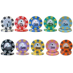 2 Stripe Twist 8 Gram Poker Chips - Roll of 25