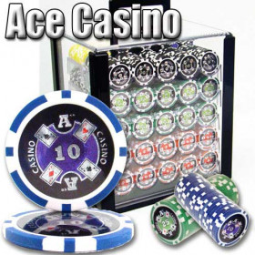 Ace Casino 1000pc Poker Chip Set w/Acrylic Case