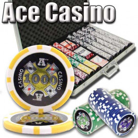 Ace Casino 1000pc Poker Chip Set w/Aluminum Case
