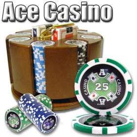 Ace Casino 200pc Poker Chip Set w/Wooden Carousel