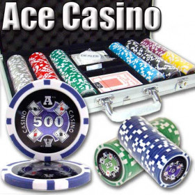 Ace Casino 300pc Poker Chip Set w/Aluminum Case