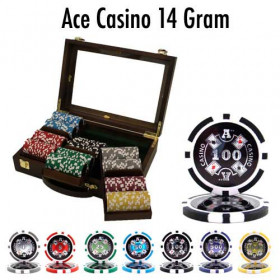 Ace Casino 300pc Poker Chip Set w/Walnut Case