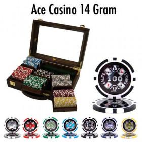 Ace Casino 300pc Poker Chip Set w/Walnut Case
