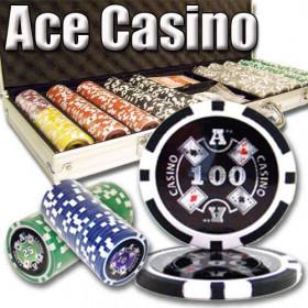 Ace Casino 500pc Poker Chip Set w/Aluminum Case