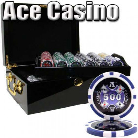 Ace Casino 500pc Poker Chip Set w/Mahogany Case