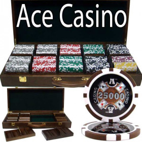 Ace Casino 500pc Poker Chip Set w/Walnut Case