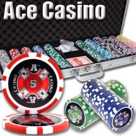 Ace Casino 600pc Poker Chip Set w/Aluminum Case