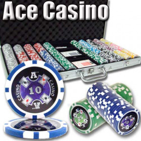Ace Casino 750pc Poker Chip Set w/Aluminum Case