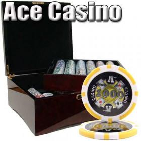 Ace Casino 750pc Poker Chip Set w/Mahogany Case