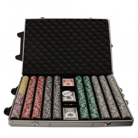 Ben Franklin 1000pc Poker Chip Set w/Rolling Aluminum Case