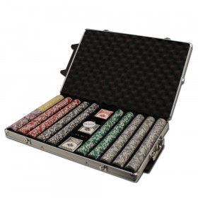 Ace King Suited 1000pc Poker Chip Set w/Rolling Aluminum Case