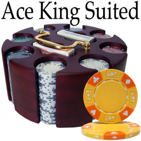 Ace King Suited 200pc Poker Chip Set w/Wooden Carousel