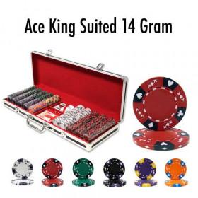 Ace King Suited 500pc Poker Chip Set w/Black Aluminum Case
