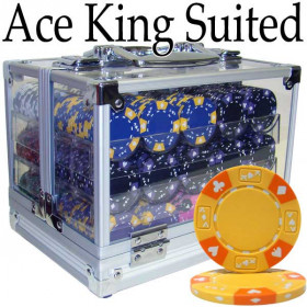 Ace King Suited 600pc Poker Chip Set w/Acrylic Case