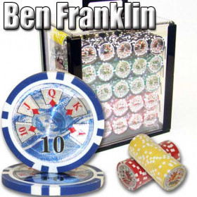 Ben Franklin 1000pc Poker Chip Set w/Acrylic Case