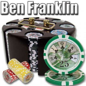 Ben Franklin 200pc Poker Chip Set w/Wooden Carousel