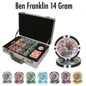 Ben Franklin 300pc Poker Chip Set w/Claysmith Aluminum Case