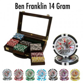 Ben Franklin 300pc Poker Chip Set w/Walnut Case