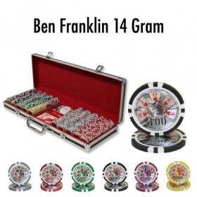 Ben Franklin 500pc Poker Chip Set w/Black Aluminum Case