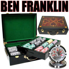 Ben Franklin 500pc Poker Chip Set w/Hi Gloss Case