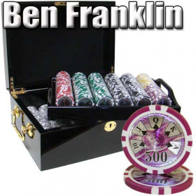 Ben Franklin 500pc Poker Chip Set w/Mahogany Case