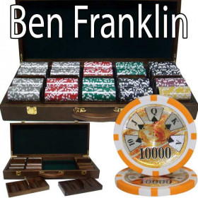 Ben Franklin 500pc Poker Chip Set w/Walnut Case