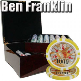 Ben Franklin 750pc Poker Chip Set w/Mahogany Case
