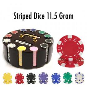 Striped Dice 300pc Poker Chip Set w/Wooden Carousel