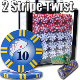 2 Stripe Twist 1000pc 8G Poker Chip Set w/Acrylic Case