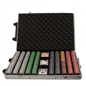 2 Stripe Twist 1000pc 8G Poker Chip Set w/Rolling Aluminum Case