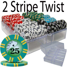 2 Stripe Twist 200pc 8G Poker Chip Set w/Acrylic Tray