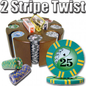 2 Stripe Twist 200pc 8G Poker Chip Set w/Wooden Carousel
